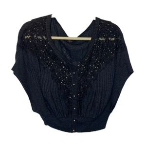 Free People | Charcoal Sweater w/ Sparkle Details